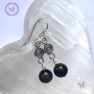 Dumortierite Silver Coil Dangle Earrings